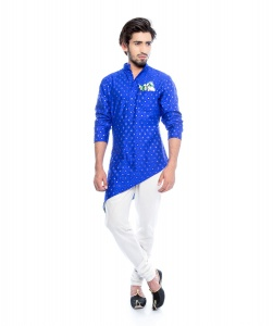 S9 Men Royal Blue & Golden Jacquard Woven Diagonal Cut Kurta  with White Churidaar Pajama