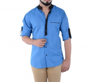 S9 Men Solid Casual Semi Formal Shirt For Men (Blue & Black) S9-FS-302B
