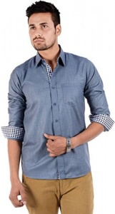 S9 Men Solid Casual Shirt For Men (Grey) S9-FS-211B