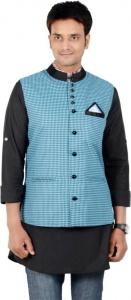 ForgeKo Checkered Blue & Black Nehru Jacket