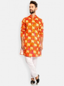 S9 Men Traditional Muti color Printed Fully lined Kurta with White Pajamal (1)