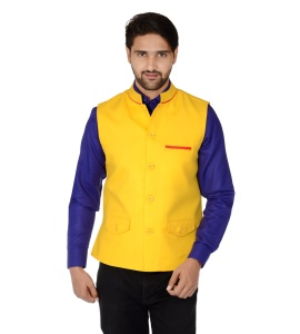 Forge'ko Economical Self Design Men's Yellow Waistcoat
