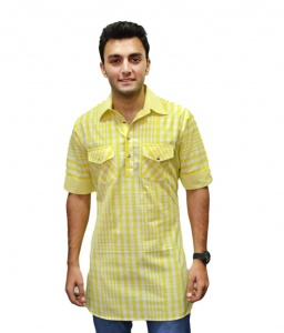 S9 Men 100 % cotton kurta(Yellow)  S9-MK-31