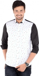 S9 Men's Solid, Printed Casual Linen Look Shirt (Black, White, Blue) S9-FS-227B