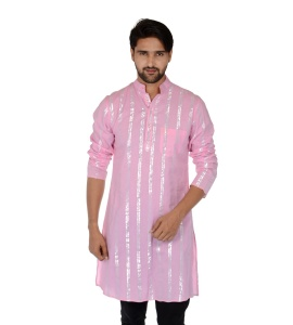 S9 Men Baby Pink & Silver Line Solid Straight Kurta