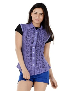 Cut-Out Lavender Lace Sleeveless Top