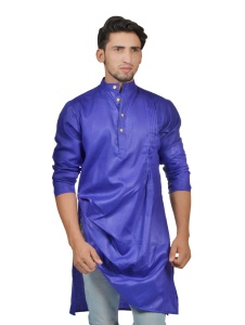 S9 Men Nawabi Blue Color Solid A-Line Kurta