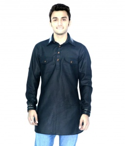 S9 Men Black Pathani Solid Straight Kurta