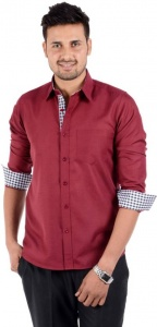 S9 Men's Solid Casual Maroon Shirt S9-FS-211G