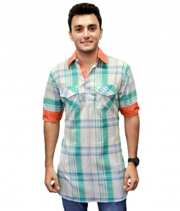 S9 Men Green & White Checked Pathani Kurta