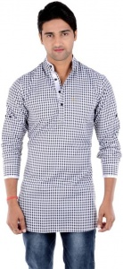 S9 MEN Checkered Men's Pathani Kurta  (White, Black) S9-MK-202A