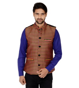 ForgeKo Pink Yellow Black Nehru Jacket