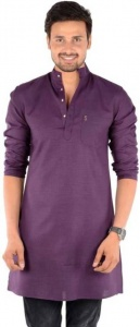 S9 Men Wine colored Solid Straight Kurta