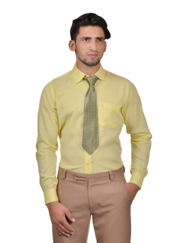 S9 Men Solid Formal Cotton Blend Shirt For Men Yellow Tie With