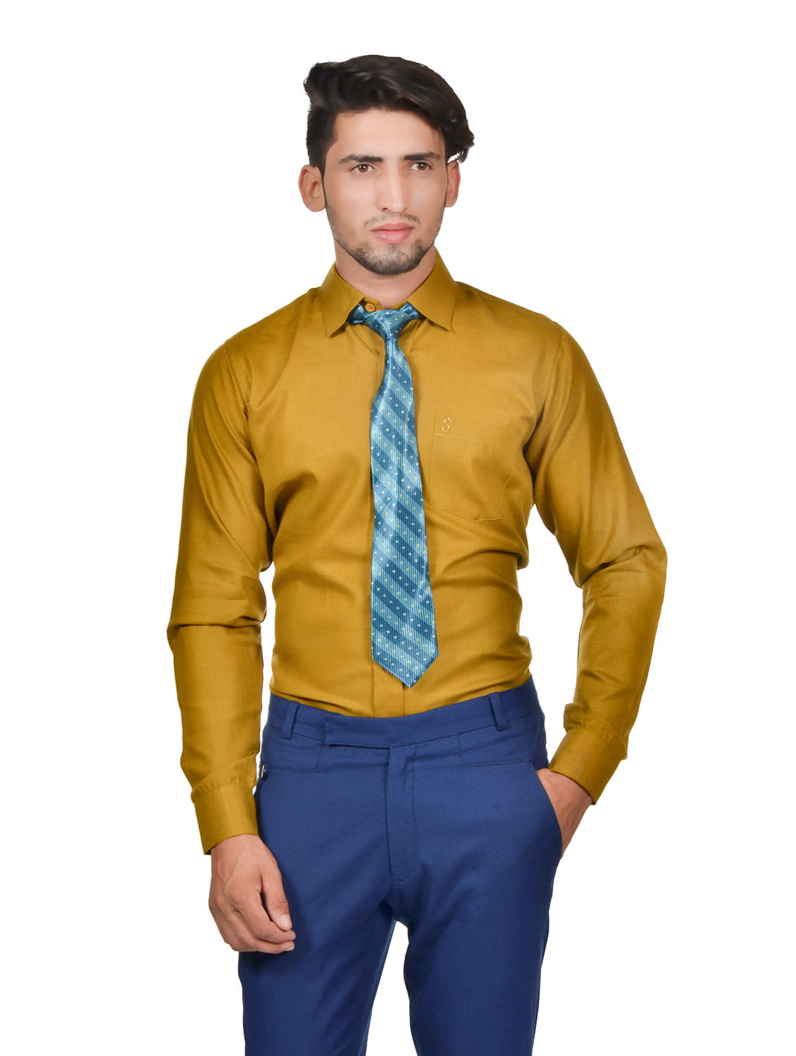 S9 Men Solid Formal Cotton Blend Shirt For Men Mustard With Green