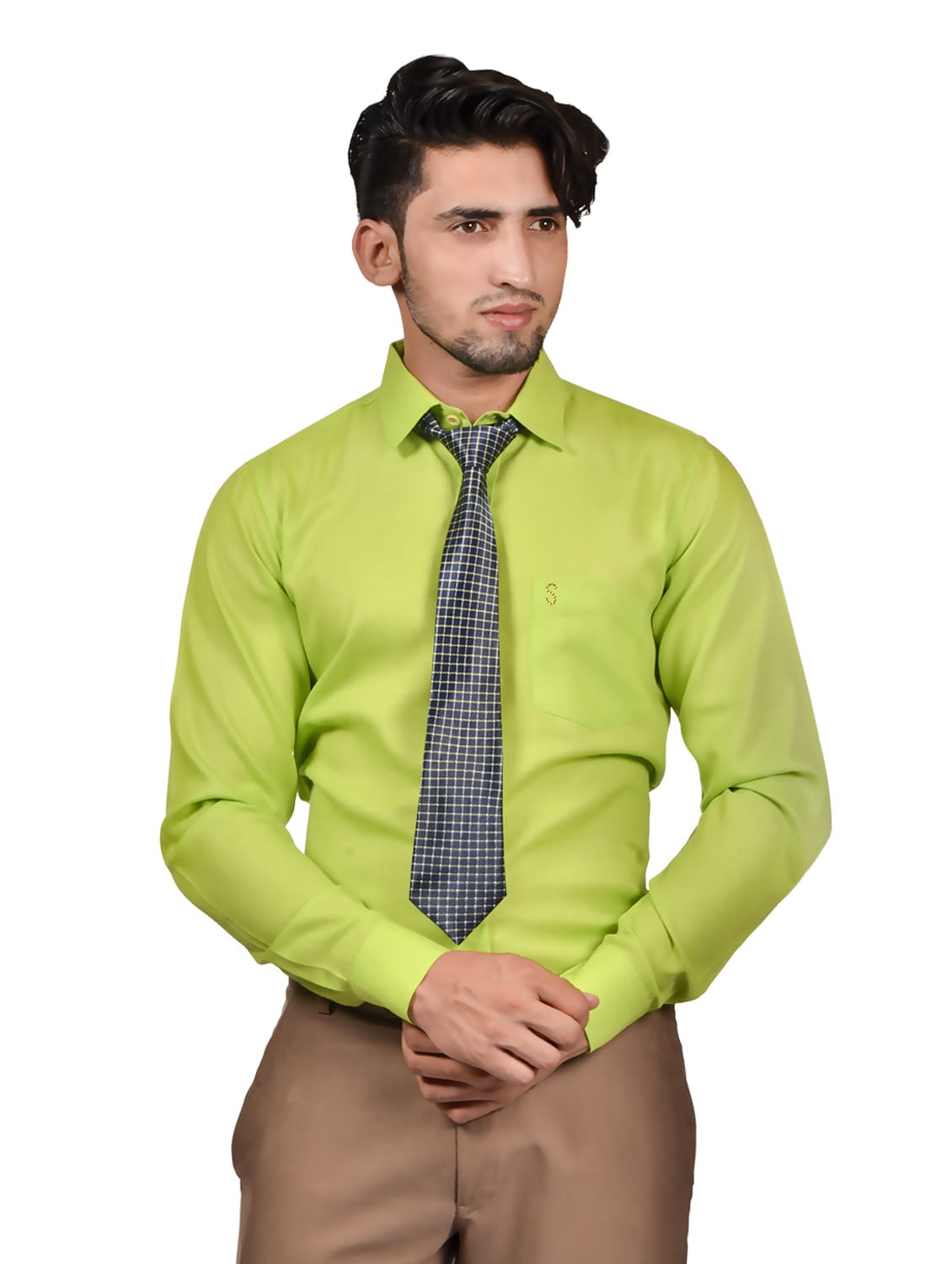 S9 Men Solid Formal Cotton Blend Shirt For Men Lime Green With Grey