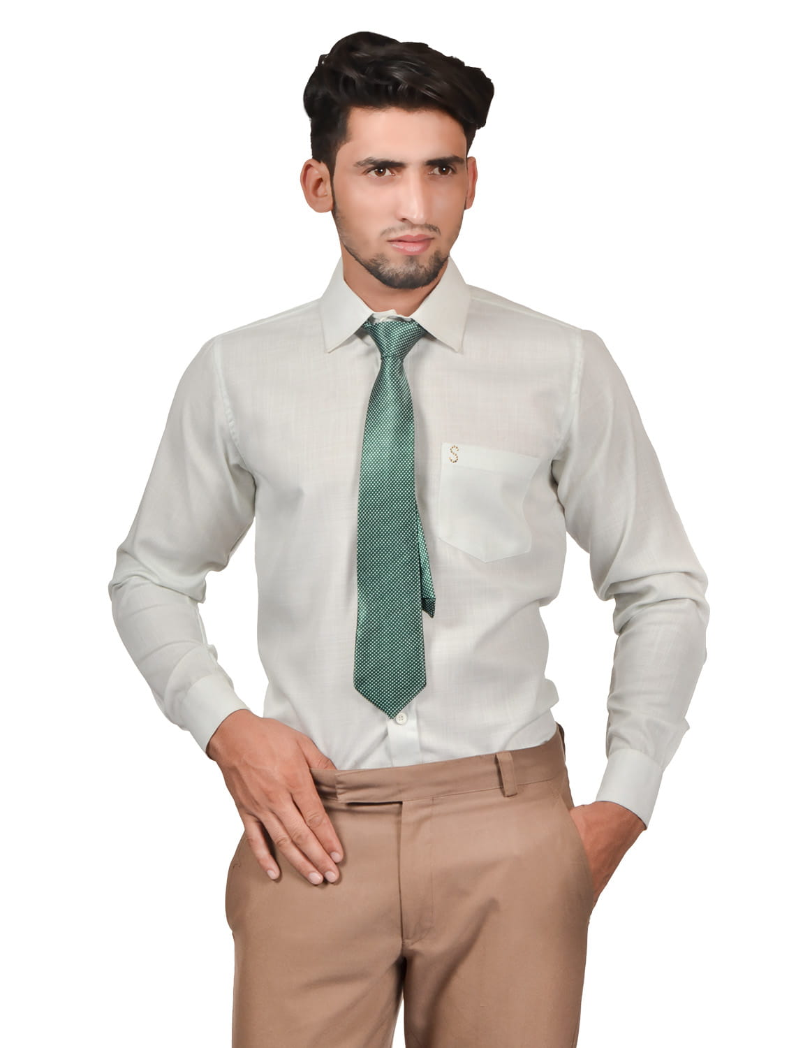 S9 Men Solid Formal Cotton Blend Shirt For Men Whitish With Green